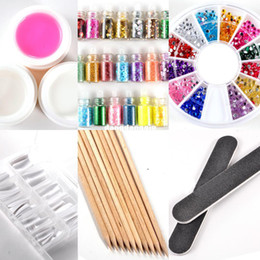 $enCountryForm.capitalKeyWord Canada - Wholesale-pink clear white color UV Gel Starter Kit with orange Stick glitter decoration false nail tips For Nail Art Decoration Set NA75040