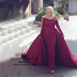 dresses fashion nigerian 2019 - Nigerian Lace Arabic Party Formal Dresses Evening Wear 2018 Plus Size Yousef Aljasmi Long Sleeve Overskirt Mermaid Red C
