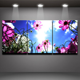 Modern Drawing Oil Paint Canada - 3 Pieces Modern Wall Painting Blue Sky Pink Flower Picture Printed on Canvas Mural Drawing for Home Living Room Office Wall Decor