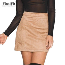 Barato Saia Alta Cintura Alta-Atacado- FinalFit High Waisted Pencil Mulheres saia Suede Tight Bodycon Sexy Mini saia curta