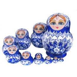$enCountryForm.capitalKeyWord NZ - 10pcs Beautiful Doll Wooden Toys Matryoshka Doll Kids Gift Russian Nesting Dolls Baby Toy Girl Doll Shop High Quality