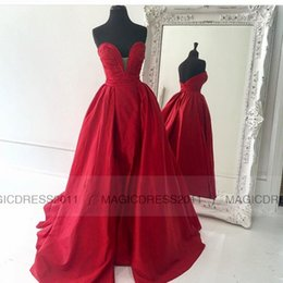 Discount backless boned wedding dress - Elegant Red Evening Gowns Backless Long Formal Prom Dresses 2015 Occasion Dress A-Line Sweetheart Party Celebrity Cockta