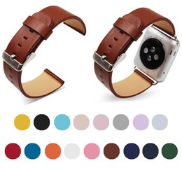 Smart Orange Watches Canada - For Apple Watch Strap 1 2 3 17 Color Genuine Leather Plain Strap Breathable Band Strap Bracelet For Tracker Smart Watch
