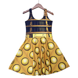 Barato Vestido Feminino De Mulheres Sexy-2018 NOVO 1196 Summer Sexy Girl Skater Vest Dress Moda Doctor Who Golden O Daleks tardis 3D Prints Mulheres Beach Pleated Dress Plus Size