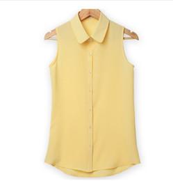 ec7c92aff5939f SleeveleSS button down ShirtS online shopping - Women Sleeveless Turn down  Chiffon Blouse Summer Shirt Blusas