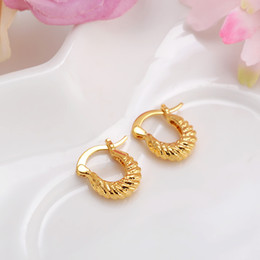 Barato Brincos Crianças Menina-Atacado- 2pairsBaby Girls Small Round Circles Huggies Hoop Earrings Gold Jewellery For Kids Crianças Aros women jewelry african best gift