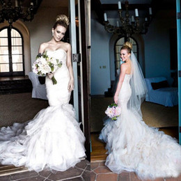 fit flare ruffle wedding dresses Canada - Elegant Ruffles Wedding Dresses Mermaid Trumpet Fit and Flare Strapless Ruched Tulle Low Back Fitted Bridal Gowns Custom Made High Quality