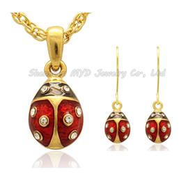 White Egg Pendant NZ - Mini Ladybug Faberge Egg pendant earrings sets Enamel clear Crystal paved Russian Egg Pendant Necklace for Ladies Easter