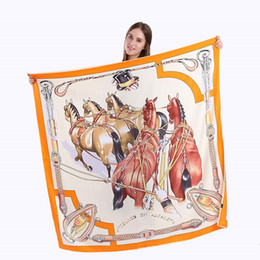$enCountryForm.capitalKeyWord Canada - New Twill Silk Scarf Women War Horse Printing Square Scarves Fashion Wrap Female Foulard Large Hijab Shawl Neckerchief 130*130CM