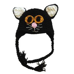 $enCountryForm.capitalKeyWord UK - Novelty Scary Cat Hat,Handmade Knit Crochet Baby Boy Girl Black Animal Earflap Hat,Kids Halloween Hat Costume,Infant Newborn Photo Prop