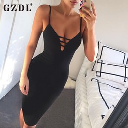 Venta Al Por Mayor Profundamente Del Vestido De V Baratos-Al por mayor-GZDL Sexy Party Deep V Neck Summer Dress correa de espagueti de moda vendaje Bodycon Stretch mujeres vestidos Vestido De Festa CL2420