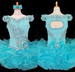Robes De Concours Prix Bas Pas Cher-Big Discount A Line Mini Short Ruffles Turquoise Organza Cap Sleeve Girl's Pageant Robes Beaded Crystal Low Price Flower Girls Robes