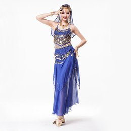 Jupe En Mousseline De Soie Pas Cher-Coin Vêtements Belly Dance 4 pièces Halter Top, Écharpe de hanche, Maxi jupe en mousseline Costume Indien strass Headpiece Set 8 couleurs