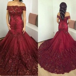 Barato Venda De Corset-Hot Sale Dark Red Mermaid Vestidos árabes Vestido de noite formal Off Shoulder Lace Applique Corset Sweep Train Mulheres Party Prom Gown Vestidos