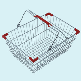 Chinese  New shopping baskets for supermarket ,chrome coated bastket for bar WireMeshBasketWith Metal Handles N.W.:0.63kg manufacturers