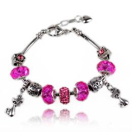 $enCountryForm.capitalKeyWord Canada - Fashion Adjustable Charm Bracelets Crystal Murano Glass Beads & Lovely Cats Dangle Charms Snake Chain Bangle Bracelets B040