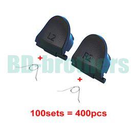 Black L2 R2 Key Trigger Vervanging Onderdelen Knoppen Knoppen met Lente voor PlayStation 4 PS4 Controller 100sets (400pcs)