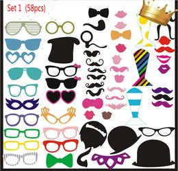 photo funny prop Australia - 58 pcs set Wedding Centerpieces Photo Booth Props Glasses Mustache Lip On A Stick Party Funny Favor Supplies Free Shipping