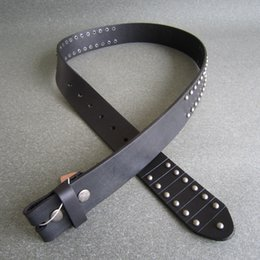 """leather snap belt 2018 - Wholesale Retail Classic Black Punk Nails Studded Real Leather Snap On Belt Gurtel 1.5"""" 3.8mm Free Shipping cheap l"""