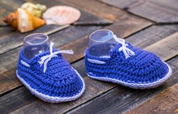 $enCountryForm.capitalKeyWord Australia - Blue and white nautical baby boy hand crocheted booties, crocheted baby snickers, crochet baby shoes 0-12M customize