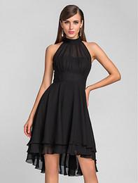 New Arrival Elegant Halter Black Chiffon Homecoming Dress Hi-Lo Party Gowns Dresses Cocktail Plus Size Grade 8 Graduation Dress Custom Made on Sale