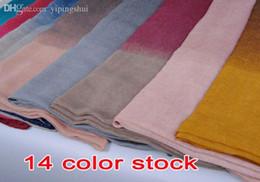 Cotton Viscose Scarves Australia - Wholesale-wholesale ladies printe ombre shade plain fashion100% viscose shawls long cotton voile hijab muslim scarves scarf 10pcs lot