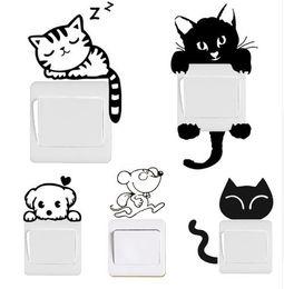 Light Switch Stickers Kids Canada - DIY Funny Cute Black Cat Dog Rat Mouse Animls Switch Decal Wall Stickers Home Decals Bedroom Kids Room Light Parlor Decor