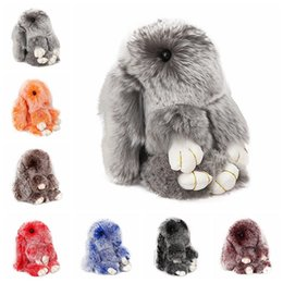 Chinese  Real Rex Rabbit Bunny Keychain Rabbit Fur Pom Pom Key Chain for Women Trinket Rabbit Toy Doll Bag Car Key Ring Monster Keyring manufacturers