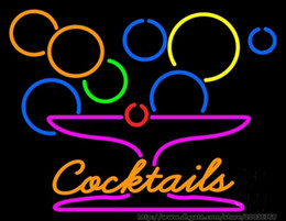 "Cocktail Light Sign Canada - Cocktails With Martini Neon Sign Real Glass Tube Drink Store Custom Sport Bar KTV Disco Club PUB Light Neon Signs Advertising 17""X14"""