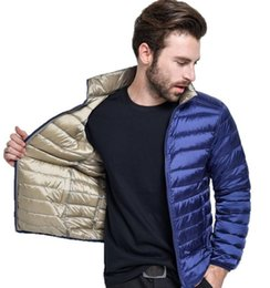 Barato Casaco Duplo Para Baixo-2017 Men Ultra Light Duck Down Jacket Homens Winter Double Side Reversible Parka