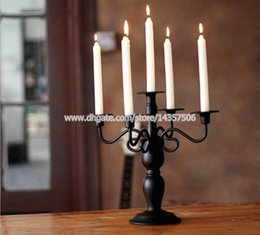 """White Metal Candle Holders Canada - Vintage European 5 Arm Wedding Candelabra Classic Black White 13"""" Iron Candle Holders Romantic Metal Home Decoration"""