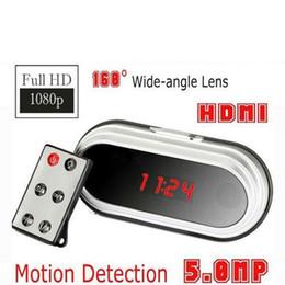 remote video cameras 2018 - Remote control Full HD 1080P Clock Camera HDMI & Motion Detection 5MP 160 Degree wide-angle Clock DVR V9 Mini camcorder