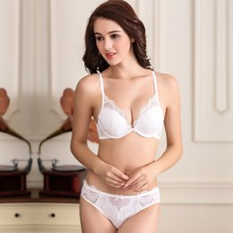 63494ab55 European Style Full Lace Cross Beauty Back Sexy Brand bra and transparent  panty set Push up Women Underwear Set ABC cup 32-38