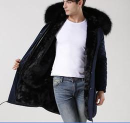 Wholesale long black fur rabbit coat men for sale - Group buy MEIFENG brand men winter fur coats black raccoon fur trim USA rabbit fur lining navy blue long parkas with ykk zipper