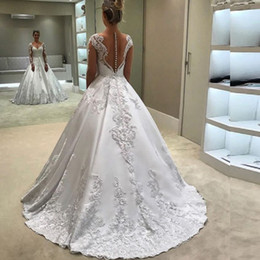 $enCountryForm.capitalKeyWord Canada - Modest A Line V Neck Wedding Dress Illusion Long Sleeves Lace Appliques Wedding Gowns Custom Made High Quality Bridal Gown Sweep Train