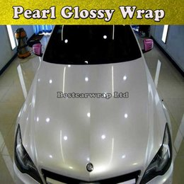Wrap car pvc film online shopping - Pearl Gloss White Vinyl Wrap With Air Bubble Free Gloss Pearlecent White Film For Car Styling Vehicle Tuning Car Stickers Size M Roll