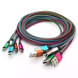 Tipo C Cable USB para S9 S8 Conector de metal intacto Tejido de nylon Trenzado Cable micro USB Cable de cargador de plomo V8 para Samsung S7 / 6/5 1M 2M 3M