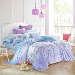 svetanya polyester bedding set queen full king size bedlinen soft and luxury quilt cover sets flowers print light purple blue