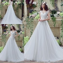 $enCountryForm.capitalKeyWord Canada - Plus Size Vestido de Novia Wedding Dresses 2018 V Neck capped Sleeve Sheer Tulle In stock Sash Applique Lace Cheap Bridal Gowns