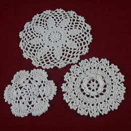 $enCountryForm.capitalKeyWord NZ - handmade Crocheted Doilies cup mat 3 Design vase Pad, White lace Round coaster Home Weddings& Garden 10-16 cm table mat 30PCS   LOT tmh357