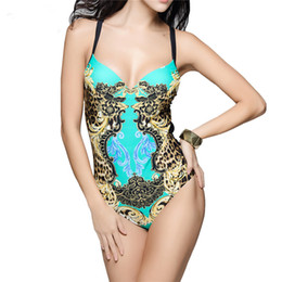 swimwear push ups UK - 3XL Plus Size Women One Piece Swimsuit Leopard Printed Monokini Swimwear Swimming Suit For Female Push Up Bodysuit Bathing Suit