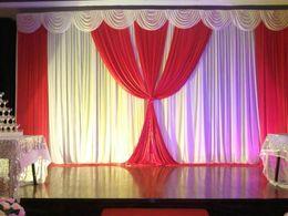 $enCountryForm.capitalKeyWord Canada - Romantic White and Fuchsia Ice Silk Wedding drape Wedding decoration Backdrop 3*6M for Wedding Decoration Stage Backdrops Curtain