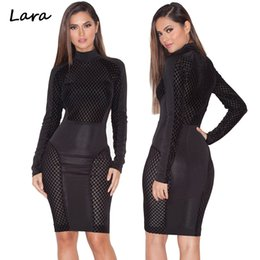 Barato Vestido Stretchy Laço Preto-Atacado-Black Hot Sexy Lace Sheer Patchwork Mulheres vestido de verão Stretchy Bodycon Bandage Partido Vestidos Fashion Club Wear Plus Size