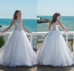 Girl paGeant dresses 14 online shopping - 2018 Glitz Beaded Crystal Girls Pageant Dresses for Teens Tulle Floor Length Beach Flower Girl Dresses for Weddings Custom Made