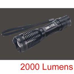 Epacket gratis, Nueva llegada, 2000 Lumen 7 Modo E8 Zoomable CREE XM-L XML T6 Linterna LED Antorcha Zoom Lámpara de luz (E8) en venta