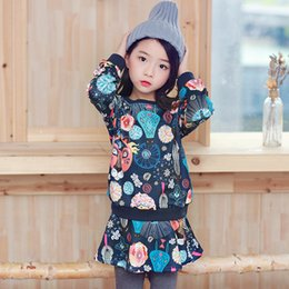 Barato Ternos De Saia Apertada-New Korean Girls Outfits Sets Princess Hooded Floral Tops + Saias Calças Tights 2pcs Set Roupa infantil Fatos da menina Navy A7827