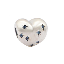 Wholesale Authentic Sterling Silver Fine Jewelry Cinderella Heart Charm Beads With Fancy Light Blue Crystal For Women Fits Charm Bracelets DIY