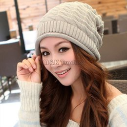 $enCountryForm.capitalKeyWord Canada - Winter White Ivory Thick Slouchy Knit Oversized Beanie Cap Hat Diamond Checked Weave Hats 4 Colors 20pcs