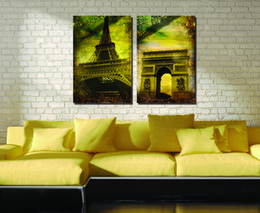 canvas church paintings Canada - 2 Pieces Free shipping Home decoration Paint on Canvas Prints Eiffel Tower Triumphal Arch Times Square church town fountain building