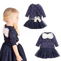 skirt stars 2019 - Girls star bowknot Short skirt Suits 2016 new fashion princess Long sleeve T-shirt+ Lace Short skirt 2 pcs Suit children